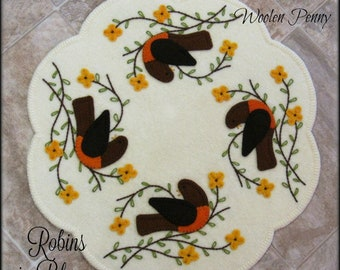 Robins in Bloom Penny Rug Candle Mat Wool Applique PDF PATTERN
