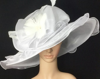 White Wedding Bridal Hat with big Bow and Feather Flower , White Kentucky Derby Hat,Church Dress Hat ,Bridal Wedding Hat,Tea Party Hat Ascot