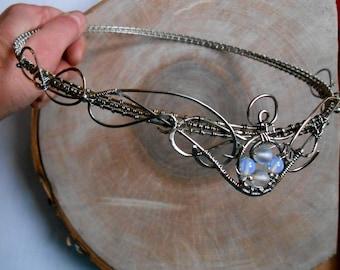 Silver crown Silver Wire Wrapped circlet Elven Jewelry headband crown, Tiara, Slavic bezel head Pagan circlet wire wrapped circlet crown