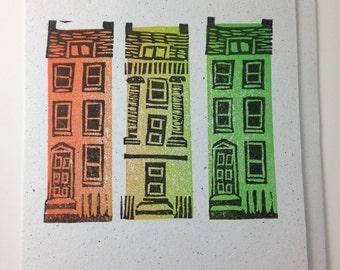 Handprinted little house card, Georgian houses block printed in Bath