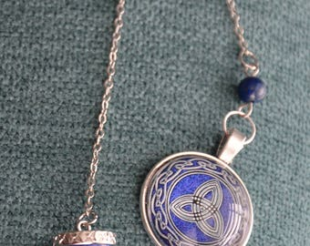 Lapis Lazuli Pendulum with Triquetra Cabochon - 3.50 Shipping in the U.S. - Dowsing, Metaphysical, Psychic, Wicca, Pagan,