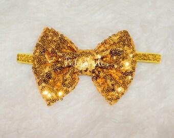Sequin Bow Headband Gold Headband Sequin Bow Red Bow Gold Bow Pink Bow Baby Headband Kids Headband Adult Headband Big Bow Sparkle Bow