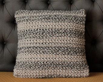 Cozy Knit Pillow Hand Knitted Pillow Decorative Pillow Crochet Pillow Case Grey Nude Stiped Throw Coach Pillow Sofa Pillow Knit Cushion
