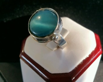Sterling Silver Ring with light blue moonstone