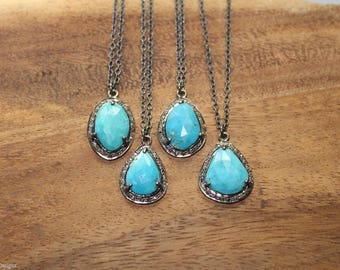 Sleeping Beauty Turquoise Pave Diamond Necklace, Oxidized Sterling Silver Chain, Genuine Diamonds, December Birthstone