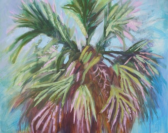 Large Modern Abstract Palm Tree Painting -36 x 36 Inches Original acrylic canvas by Emily Cheek