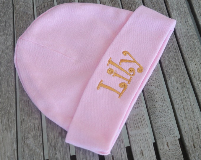 Personalized Baby Beanie Hat Cap Monogram Embroidered Newborn Unisex Hospital Hat Photo Prop Beanie Baby Customized Gift