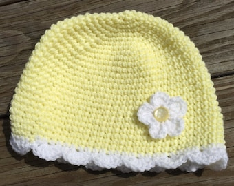 Yellow girls crocheted hat with flower. Little girls yellow beanie. 6-12 month girls hat with flower