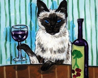 25% off cat art - Siamese Cat - art - tile - ceramic coaster - gift - wine , wine art , wine print on tile, cat art, folk art, cat gifts, gi