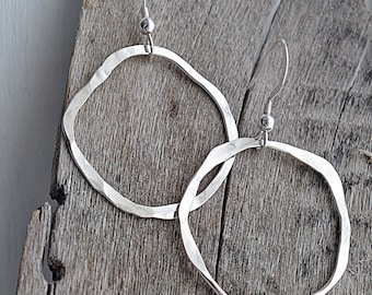 Large Hoop Earrings, Silver Hoop Earrings, Hammered Silver Earrings, Dangle Earrings, Lightweight Earrings, Gifts Under 20, Boho Earrings