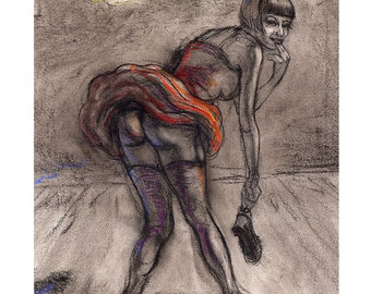 Showgirl archival print 11 x 14 of original charcoal & pastel drawing by Janna Marit. Signed.