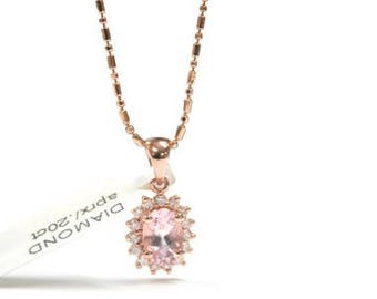 14 K Rose Gold chain with Diamond Ladies Necklace