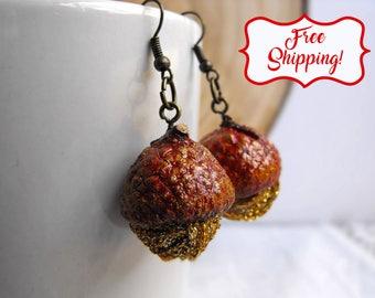 Real acorn gold ball earrings fall earrings woodland earrings forest wedding botanical earrings enchanted forest oak earrings oak bridesmaid