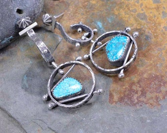 Sterling Turquoise Earrings, Raw Sterling, Asymmetrical, Boho, Metalsmith Jewelry