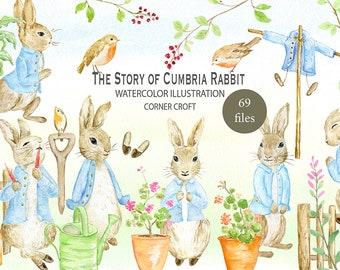 Rabbit clipart, watercolor Cumbria Rabbit illustration, watercolor clipart, personalised print creator, instant download
