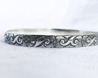 Sterling Silver Bangle Bracelet Silver Flower Bracelet Morning Glory Pattern Large Bangle Small Bangle Patterned Bangle