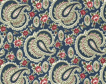 Indigo Rose Fabric by Verna Mosquera Free Spirit/Westminister Paisley Path with Floral Flowers on Midnight Blue
