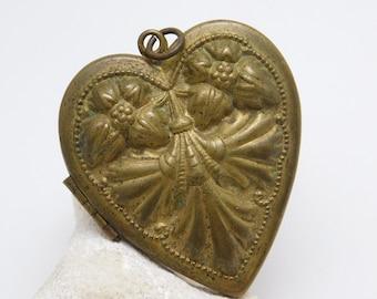 Large Vintage Heart Locket Victorian Brash Repousse Jewelry