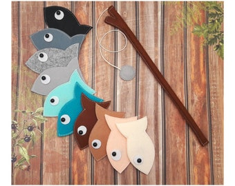 Felt Magnetic Fishing Game, Kids Magnet Fishing Set, Magnet felt fish, Eco friendly game for imaginative play, quiet travel toy