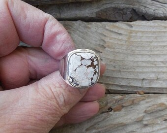 ON SALE Wild Horse magnesite mens ring handmade in sterling silver 925