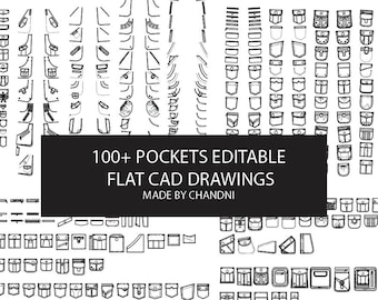 Pockets for garments flat technical CAD drawings 15+ editable for fashion students and designers