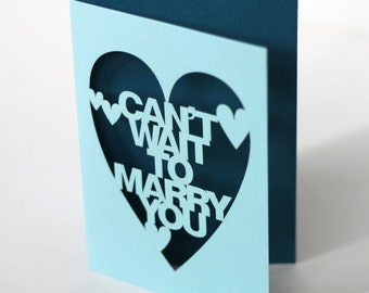 Papercut Wedding Day Card - Can't Wait To Marry You - Pale Turquoise With Any Colour Inlay