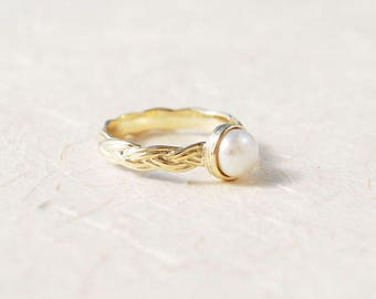 Pearl Engagement Ring, Unique Engagement Ring, 14K Gold and Pearl Ring, June Birthstone Ring, Personalized Birthstone Ring, Braided Ring