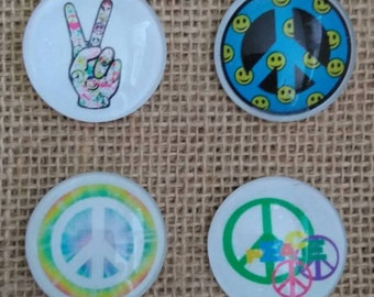 Hippie Magnets - Peace Sign Magnets - Tie Dye Magnets - Love Magnets - Refrigerator Magnets - Birthday Gift