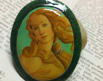 The Birth of Venus Vintage Porcelain Cabochon Pendant