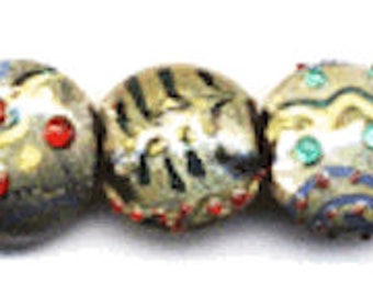 10 pieces 15mm, 20mm Assorted Lampwork Lentil Beads, Disk, Mixed lot, Green