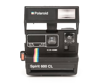 Polaroid Spirit 600 CL Instant Camera - Tested Cleaned and in Working Condition - Black with Rainbow strip and close up lens