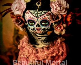 Beautiful Mortal Dia De Los Muertos Doll Holding Skull PRINT 377 Reproduction