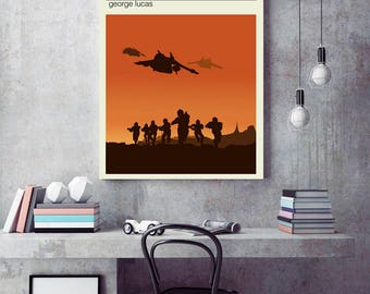 Attack of the clones poster, Star wars  minimalist poster, Star wars travel poster, clones  poster, stormtrooper art, Tatooine poster