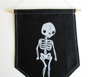 Spooky Skeleton Banner. Hand Woodblock Printed. Ready to ship.