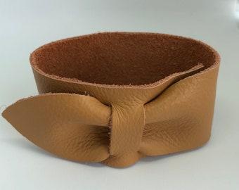 Mustard/Camel Leather: Bow Cuff Bracelet