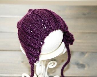 Newborn knit lacey bonnet Photo Prop