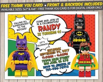 Lego Batman Invitation, Lego Batman Birthday Invitation, Lego Batman Birthday Party, Lego Batman Thank You Card, Personalized, Digital File