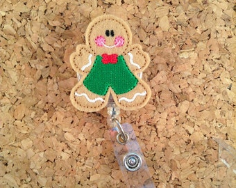 Gingerbread Boy Badge Reel, ID Badge Reel, Christmas Felt Badge Reel, Retractable Name Holder, Nurse Gift,  1019