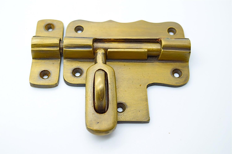 🔎zoom & Vintage door lock . Antique brass lock. Old brass lock. Brass