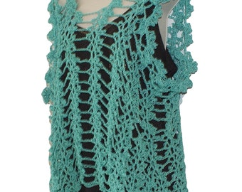 Cotton Tank Top, Beach Cover Up, Crochet Top, Swimsuit Cover Up, Sleeveless Top, Blue Tank, Plus Sizes, Crochet Tee, Summer Top, Lacy Top