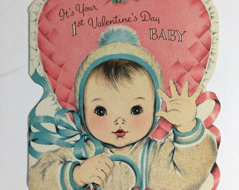 Norcross Baby's first Valentines Card 1950's Flocked Vintage