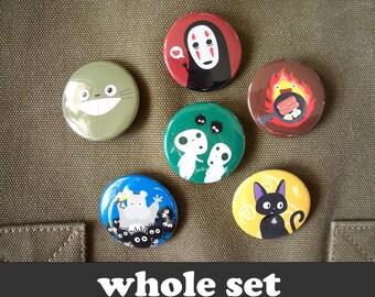 Totoro & Studio Ghibli - 6 buttons 1.5 inch noface calcifer kodama susuwatari jiji kiki dust bunnies bacon howl moving castle spirited away