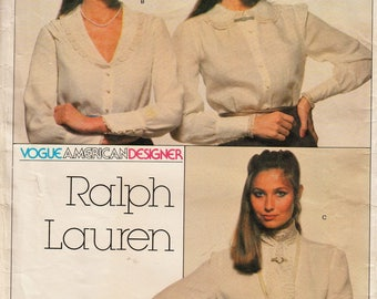 Vogue 2363 / Vintage Designer Sewing Pattern With Embroidery Transfer By Ralph Lauren / Blouse / Size 12 Bust 34