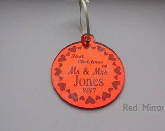 Personalised Surname Christmas Tree Decoration - First Christmas as Mr & Mrs Surname - Hearts