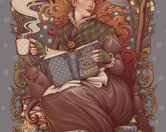 FOLK WITCH PRINT Art Nouveau DinA4 8x11'' print - hand signed. Pagan cozy High Quality 350g matte couche paper Medusa Dollmaker pagan