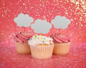 Cloud Cupcake Topper - Set of 12 | Hot Air Balloon Theme | Up Up and Away Party