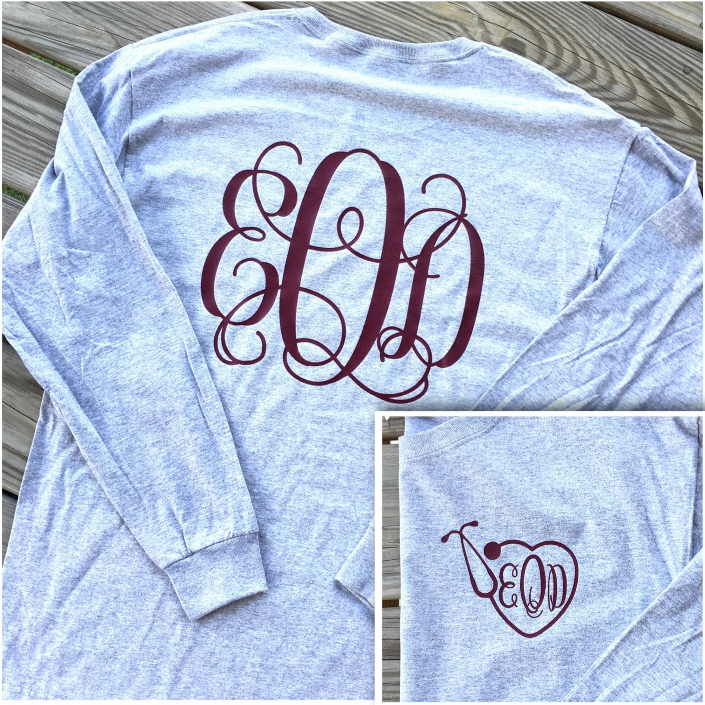 monogrammed nurse stethoscope long sleeve shirt