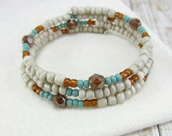 Memory Wire Bracelet, Southwestern Jewelry, Southwest Bangle Bracelet, Beige Bead Bracelet, Beige Bracelet, Boho Southwest Bracelet,