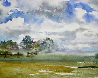 Watercolor clouds  Plein air painting Sky watercolor art Village landscape