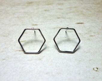 Hexagon Stud Earrings, Dainty Earrings